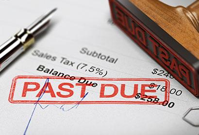 past due stamp on credit card bills