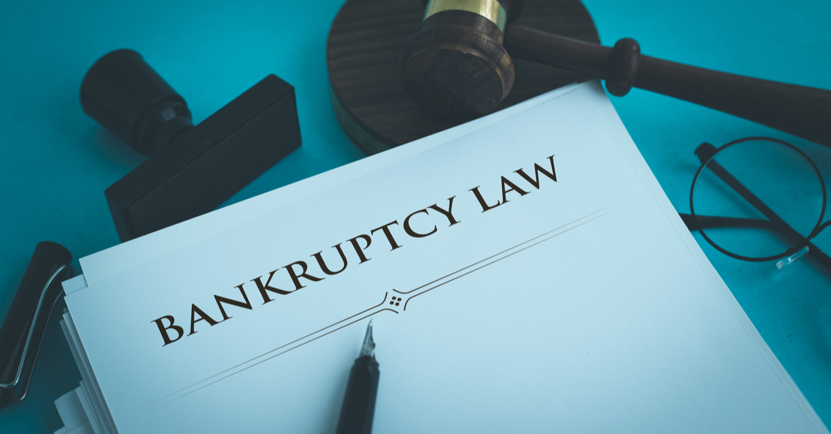 bankruptcy law concept on a piece of paper and a pencil