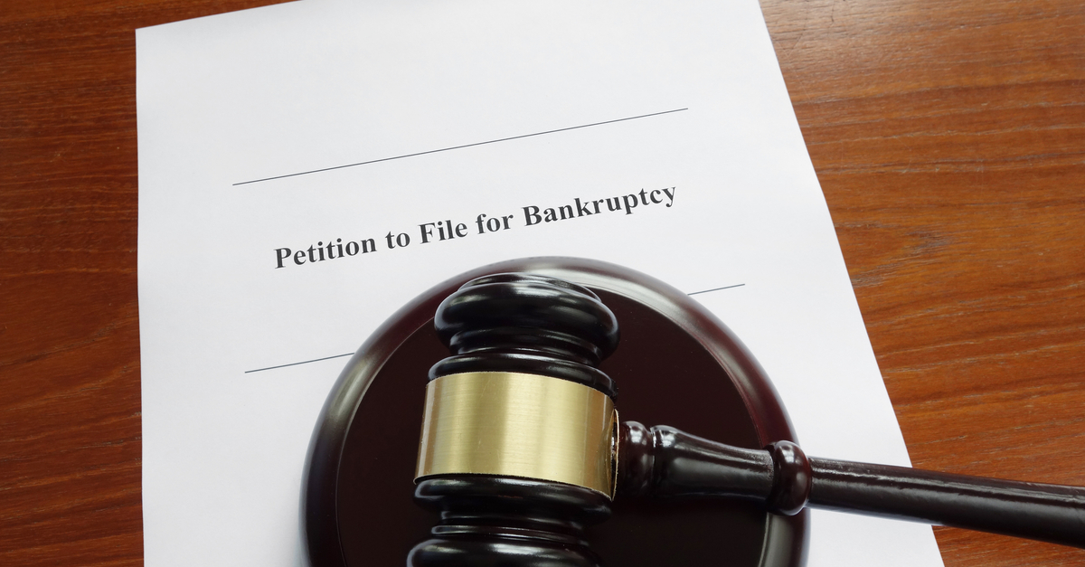 Bankruptcy court document with legal gavel
