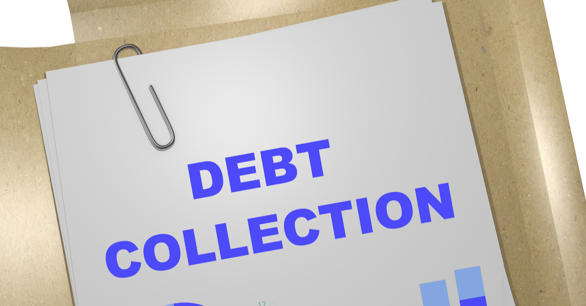 3d illustration debt collection title