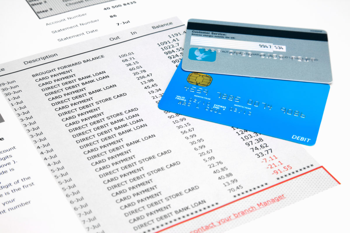 reviewing credit card statement