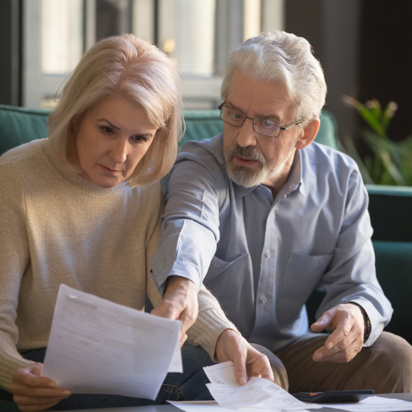 mature couple considering filing for bankruptcy